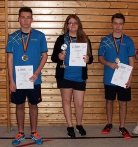 Die Kreispokalsieger: Niklas Lande, Antonia Heimpel, Yannick Finck